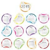 Kalender 2015 med runda glansiga klistermärkear vektor illustrationer