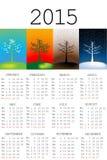 kalender 2015 med säsonger vektor illustrationer