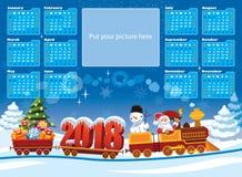 Kalender 2018 med Santa Claus stock illustrationer