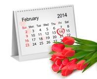 Kalender med skriftlig röd hjärta för hand. Februari 14  Arkivbilder