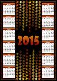 Kalender 2015 med stjärnabakgrund Fotografering för Bildbyråer