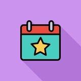 Kalender med stjärnan stock illustrationer