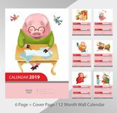 kalender med svin 2019 stock illustrationer