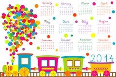 kalender 2014 med tecknad filmdrevet royaltyfri illustrationer