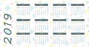 kalender 2019 med vit snöflingabakgrund som är blå och vektor illustrationer