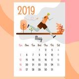 Kalender 2019 Mei-kalender Kalendervector royalty-vrije illustratie