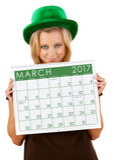 2017 Kalender: Meisje Klaar voor de Dag van Maart St Patrick ` s Royalty-vrije Stock Foto