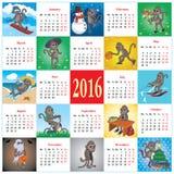 Kalender 2016 met apen Royalty-vrije Stock Afbeeldingen