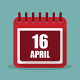Kalender met 16 april in een vlak ontwerp Vector illustratie Stock Foto