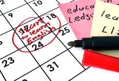 Kalender met begin om het Engels te leren Royalty-vrije Stock Fotografie