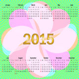 Kalender met bloem en stralen Stock Foto