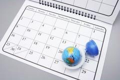 Kalender met Bol Royalty-vrije Stock Fotografie