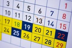Kalender met data Stock Afbeelding