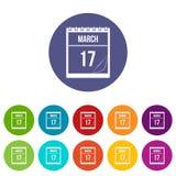 Kalender met datum van Maart 17 pictogrammen geplaatst vlak Royalty-vrije Stock Afbeelding