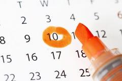 Kalender met datumhoogtepunt stock foto's