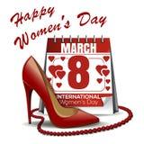 Kalender met de datum van 8 Maart, de schoenen van vrouwen, rode parels De dagontwerp van vrouwen royalty-vrije illustratie