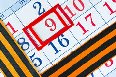 Kalender met de datum van 9 Mei Royalty-vrije Stock Afbeeldingen