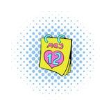 Kalender met de datumpictogram van de Moedersdag, strippaginastijl Royalty-vrije Stock Afbeeldingen