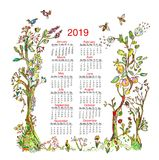 Kalender 2019 met de elementen van het aardkader - bomen, bloemen, vogels, bijen Vector illustratie stock afbeelding
