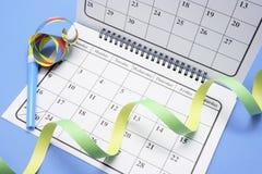 Kalender met de Gunsten van de Partij Royalty-vrije Stock Afbeeldingen