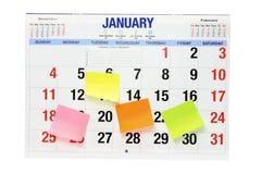 Kalender met de Zelfklevende Documenten van de Nota Royalty-vrije Stock Fotografie
