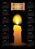 Kalender met een kaars en een rol Royalty-vrije Stock Fotografie