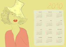 Kalender met een mooie vrouw royalty-vrije illustratie