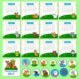 Kalender 2017 met grappige beeldverhaaldieren Royalty-vrije Stock Afbeelding