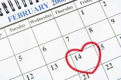 Kalender met het Symbool van het Hart Royalty-vrije Stock Foto