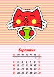 Kalender 2017 met katten september In beeldverhaal van de jaren '80-jaren '90 de grappige flarden, de spelden en de stickers stij Stock Fotografie
