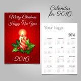 Kalender met Kerstmiskaars en Hulstbes Royalty-vrije Stock Afbeelding