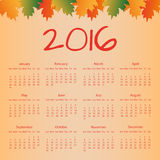 Kalender 2016 met kleurrijke bladeren Stock Fotografie