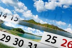 Kalender met mooi landschap Stock Afbeelding
