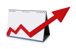 Kalender met pijlen die de groei verhogen Stock Foto's