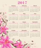 Kalender met roze lelie Royalty-vrije Stock Foto's