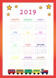 2019 Kalender met trein en sterren voor jonge geitjes stock afbeeldingen