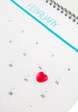 Kalender met Valentine Heart Shape I Royalty-vrije Stock Afbeelding