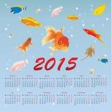 Kalender 2015 met vissen Royalty-vrije Stock Foto's