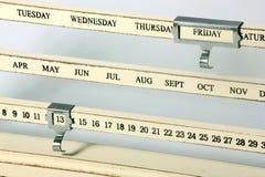 Kalender met Vrijdag de 13de reeks op het Royalty-vrije Stock Afbeelding