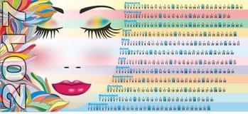 Kalender 2017 met vrouwengezicht stock fotografie