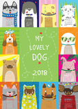 Kalender 2018 Min älskvärda hund stock illustrationer