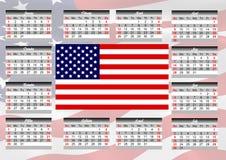 Kalender mit amerikanischer Flagge Stockbild