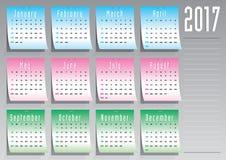 Kalender mit 2017 Aufklebern auf englisch Lizenzfreie Stockbilder