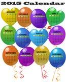 Kalender mit 2015 Ballonen Stockfotografie