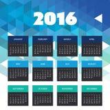 Kalender 2016 mit blaues Dreieck-geometrischem Hintergrund-Schablonen-Design - Vektor-Illustration lizenzfreie abbildung
