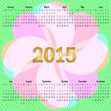 Kalender mit Blume und Strahlen Stockfoto