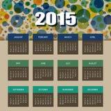 Kalender 2015 mit buntem Kreis-Hintergrund Stockfotografie