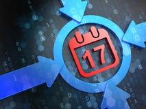Kalender mit Datums-Ikone auf Digital-Hintergrund. Stockfotos