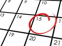 Kalender mit dem 15. Tag eingekreist Stockfotografie