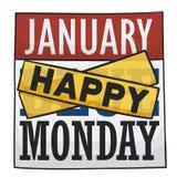 Kalender mit den Bändern, die oben an Ihnen während Blue Mondays, Vektor-Illustration zujubeln stock abbildung